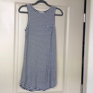 Navy and white horizontal striped Summer dress